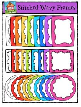 Stitched Wavy Frames {P4 Clips Trioriginals Digital Clip Art}