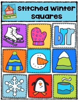 Stitched Winter Squares {P4 Clips Trioriginals Digital Clip Art}