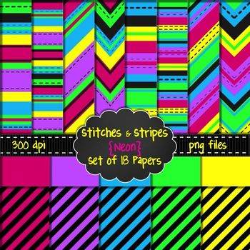 Stitches & Stripes {NEON} Digital Background Papers