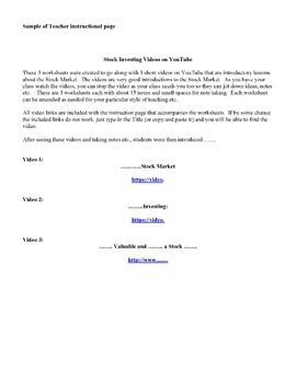 Stock Investing Worksheets:  Accompanies YouTube Videos