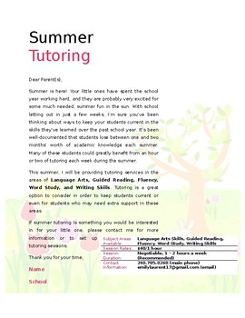 Stock Letter - Summer Tutoring