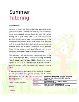 Stock Letter - Summer Tutoring