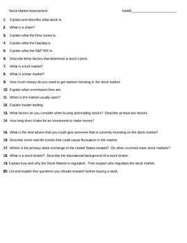 Stock Market Assessment Questions
