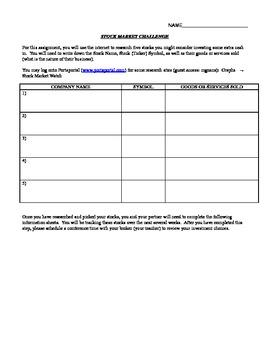 Stock Market Challenge Information Sheet