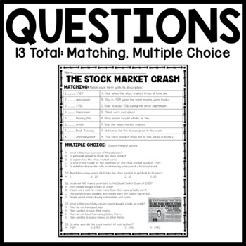 Stock Market Crash Reading Comprehension Worksheet, DBQ ...