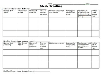 Stock Market Game - Interactive Activity to Purchase, Trade and Track Stocks