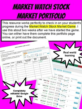 Stock Market Game Portfolio for Market Watch Game