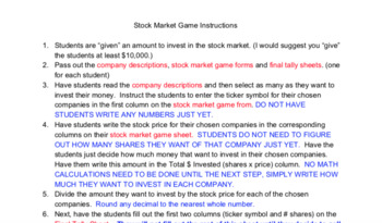 Stock Market Game (Simulation)