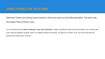 Fun Stock Market Game for high school Economics and Personal Finance