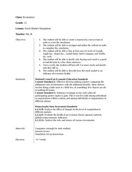 Stock Market Simulation Lesson Plan and Handouts