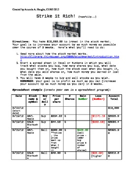 Stock Market Simulation and Math Activity (great for Common Core!)
