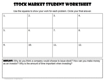 Stock Market Task Cards with QR Codes for Business Math