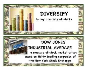 Stock Market Vocabulary Cards