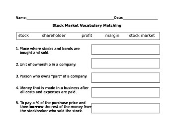 Stock Market Vocabulary Matching
