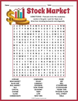 Economics Activity - Stock Market Word Search