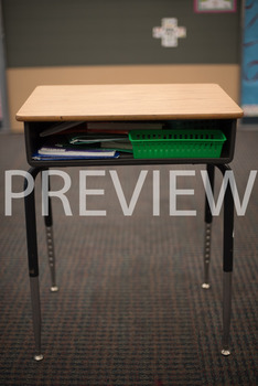 "Stock Photo: Prepositions ""In"" or ""Inside"" The Desk-Personal & Commercial Use"