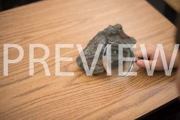 Stock Photo: Rock & Magnifying Glass-Personal & Commercial Use