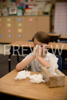 Stock Photo: Sick/Ill Student-Personal & Commercial Use