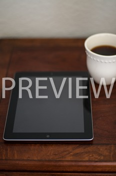 Stock Photo Styled Image: Coffee & iPad #1-Personal & Comm