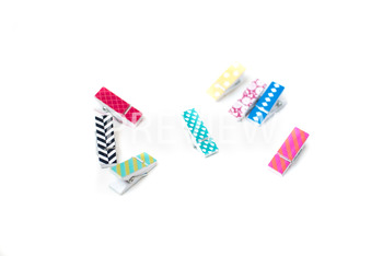 Stock Photo Styled Image: Colorful Wood Clips (Desk) -Pers