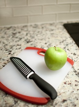 Stock Photo: Kitchen Knife, Cutting Board & Apple #1 -Pers