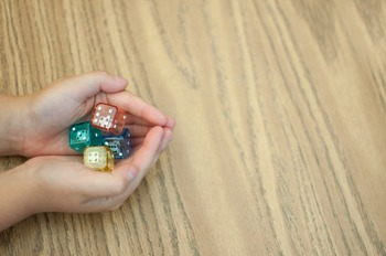 Stock Photo Styled Image: Double Dice in Hands #1 -Persona