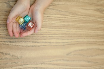 Stock Photo Styled Image: Double Dice in Hands #2 -Persona