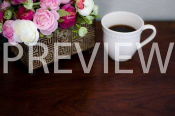Stock Photo: Flowers & Coffee-Personal & Commercial Use