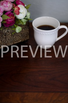Stock Photo Styled Image: Flowers & Coffee #1-Personal & C