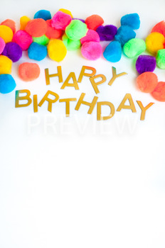 Stock Photo: Happy Birthday PomPom Sign -Personal & Commercial Use