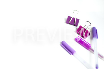 Stock Photo: Purple Desk Supplies -Personal & Commercial Use
