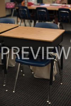 Stock Photo: Student Desk in a Classroom-Personal & Commercial Use
