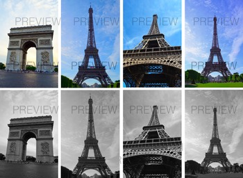 Stock Photos- Eiffel Tower and Arc de Triomphe- Commercial and Personal Use