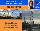 Bundle of 7 Stock Photos of the London Eye on the River Thames in London
