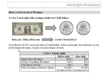 Stock Split Worksheet