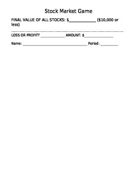 Stock game worksheet -pick stocks to follow, compete with classmates for profits