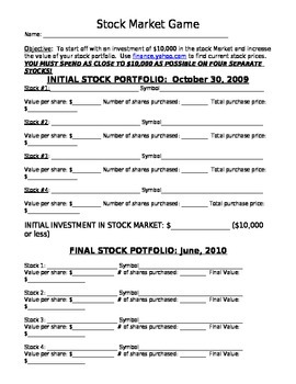 Stock game worksheet -pick stocks to follow, compete with