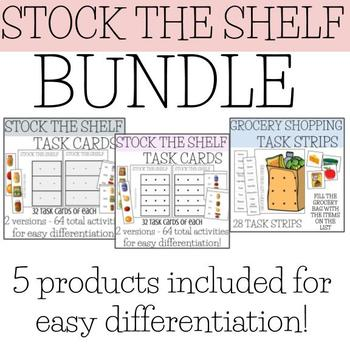 Stock the Shelf task card - groceries BUNDLE - vocational / life skills