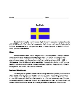Stockholm - Sweden - Review Article Questions Vocabulary