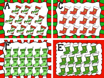 Holiday/Christmas Stockings Counting Cards 10-20