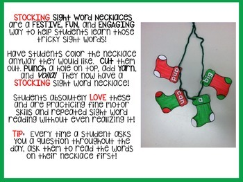Stocking Sight Word Necklaces