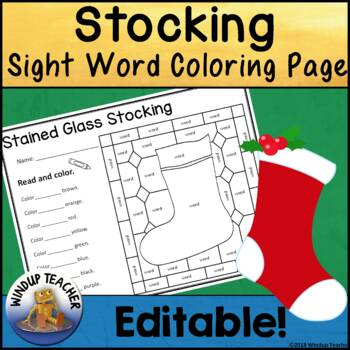 Stocking Sight Word Stained Glass Sheet   *Editable*