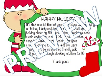 Stocking Stuffer Parent Letter