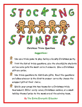 stocking stumpers christmas trivia game by the extra energetic educator. Black Bedroom Furniture Sets. Home Design Ideas