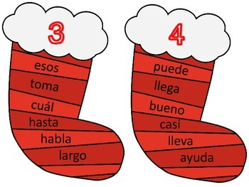 Stocking Themed Spanish High Frequency Word Write the Room