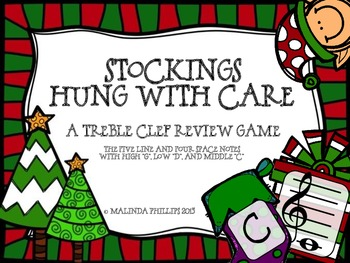 Stockings Hung With Care: Treble Clef Staff Game with High G, Low D & Middle C