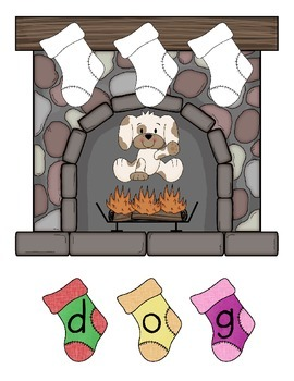 Stockings Hung by the Chimney with Care {CVC spelling practice}