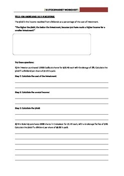 Stocks and Shares Worksheet - Calculating the Yield
