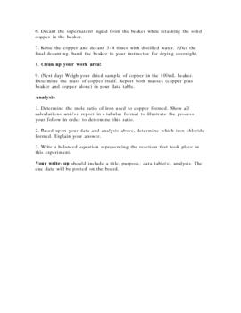 Stoicheometry Experiment: Iron and Copper (II) chloride