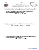Stoichiometry Homework Worksheets - Set of 7 - With answer keys!